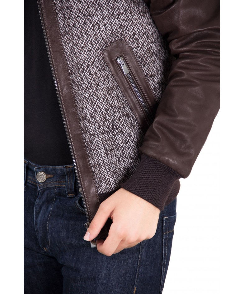 BROWN LAMB LEATHER BOMBER JACKET WOVEN CLOTH