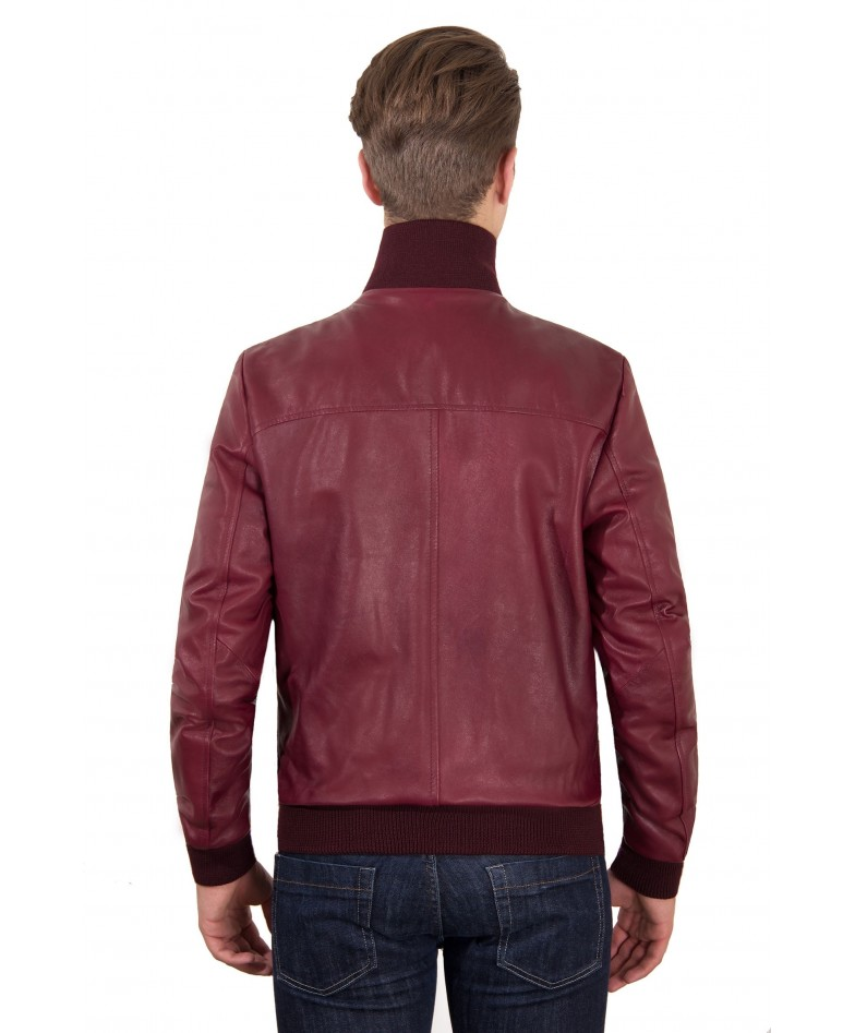 Red Purple Leather Bomber Jacket Front Woven Wool