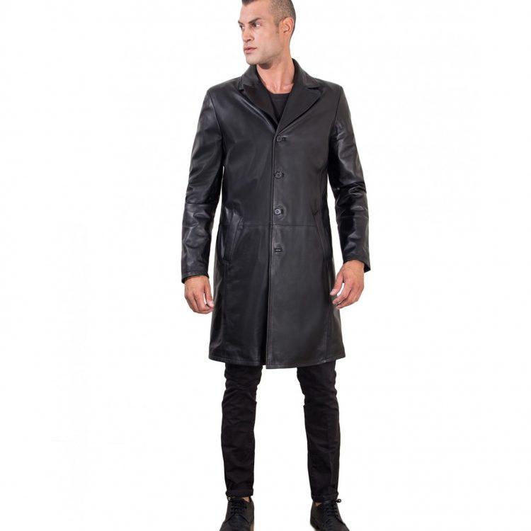 Black Lamb Leather Long Jacket