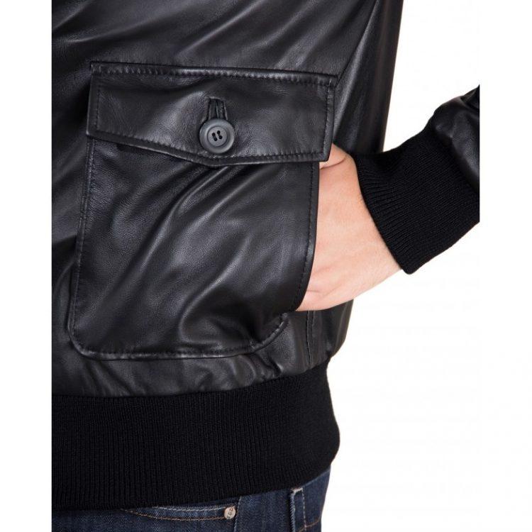 Black Nappa Lamb bomber Leather Jacket