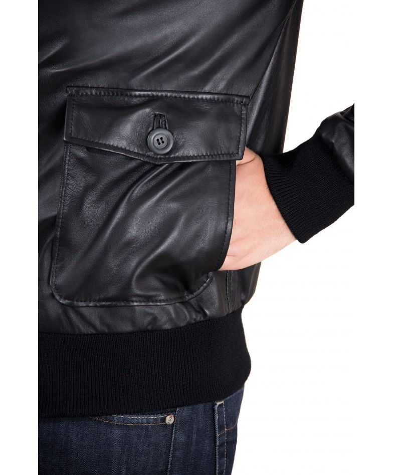 Black Nappa Lamb bomber Leather Jacket