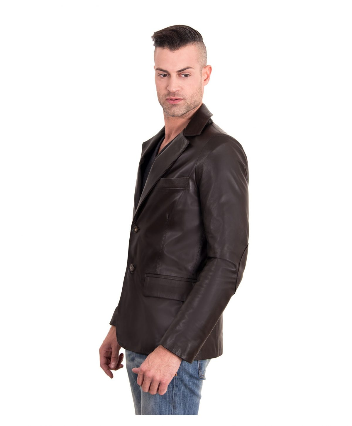 Dark Brown Color Nappa Lamb Leather Jacket 2 Buttons