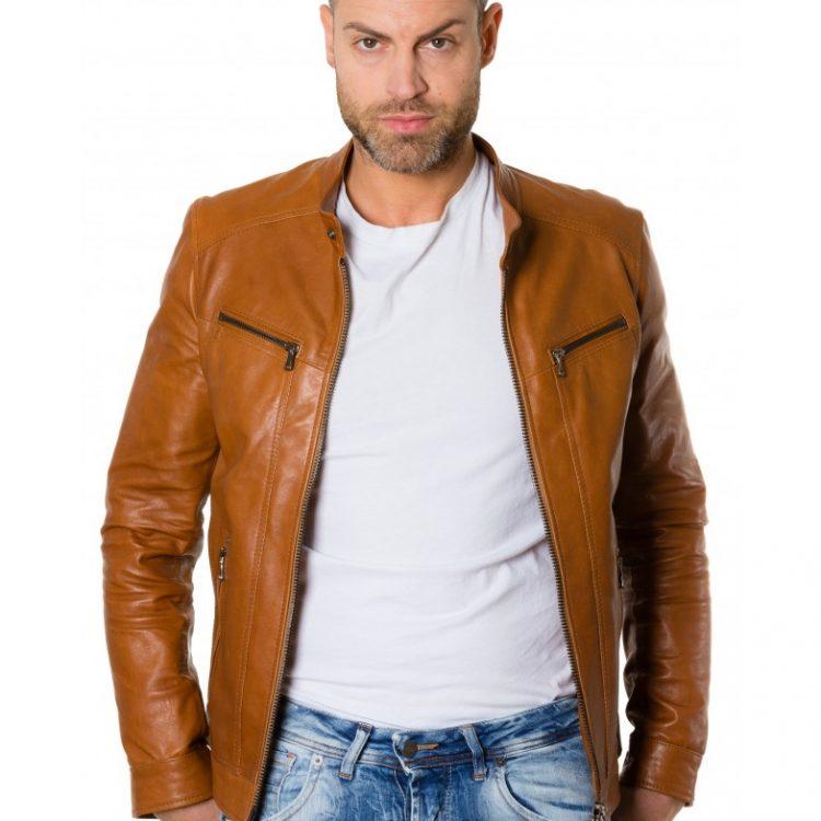 Tan Colour Lamb Leather Jacket Vintage Aspect