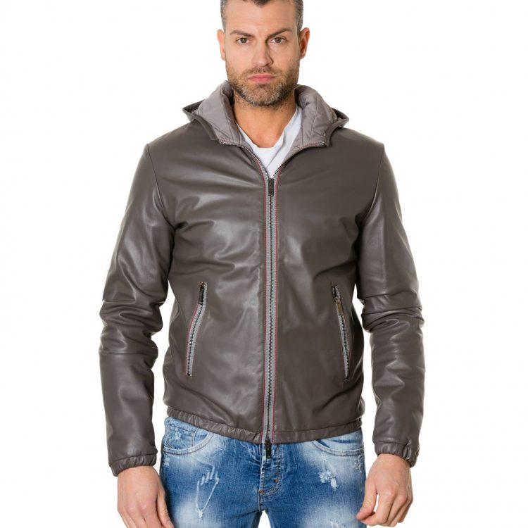 Grey Lamb Leather Bomber Hooded Jacket