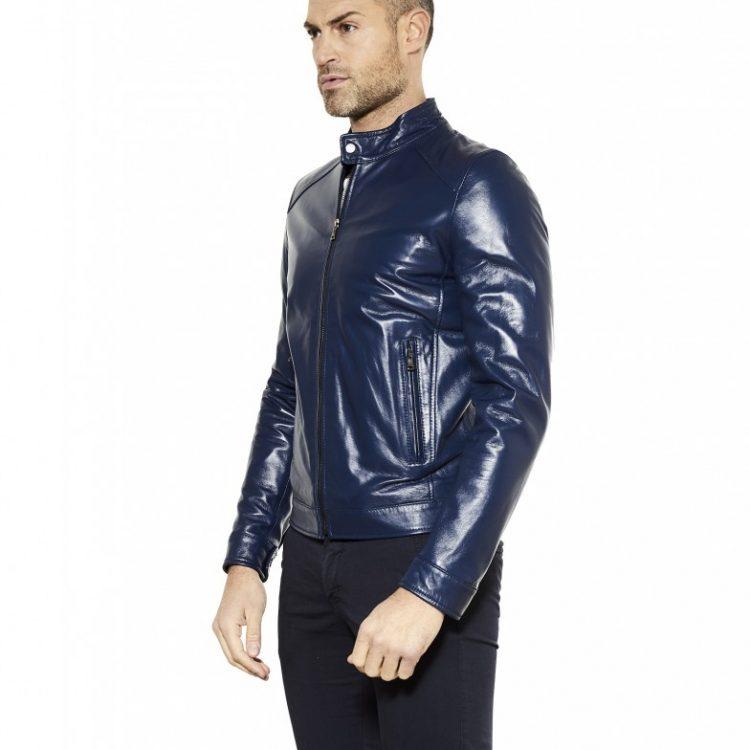 Blue Colour Lamb Leather Jacket Smooth Aspect