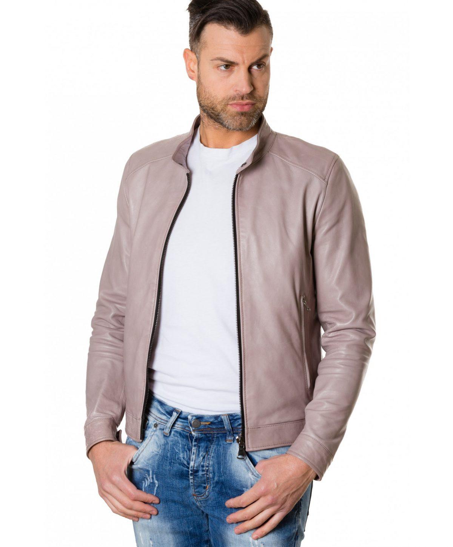 Grey Colour Leather Jacket Mao Collar Bogotà Vintage Aspect