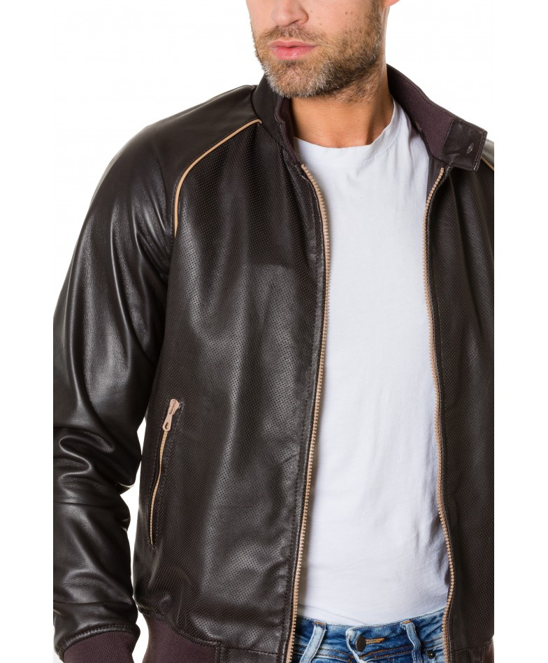 Dark Brown Colour Perfored Leather Bomber Jacket Smooth Aspect