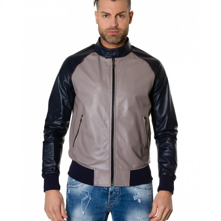 Grey/Blue Colour Leather Bomber Jacket Smooth Aspect