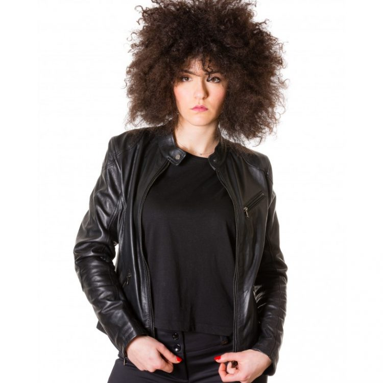 Black Color Nappa Lamb Biker Leather Jacket Smooth Effect
