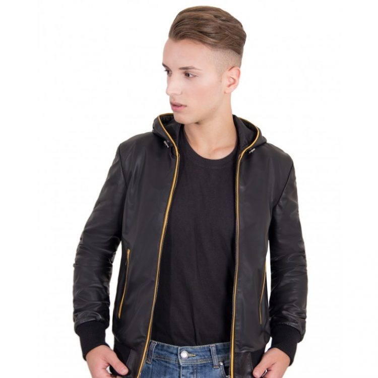 Black Color Nappa Lamb Leather Hooded Bomber Jacket