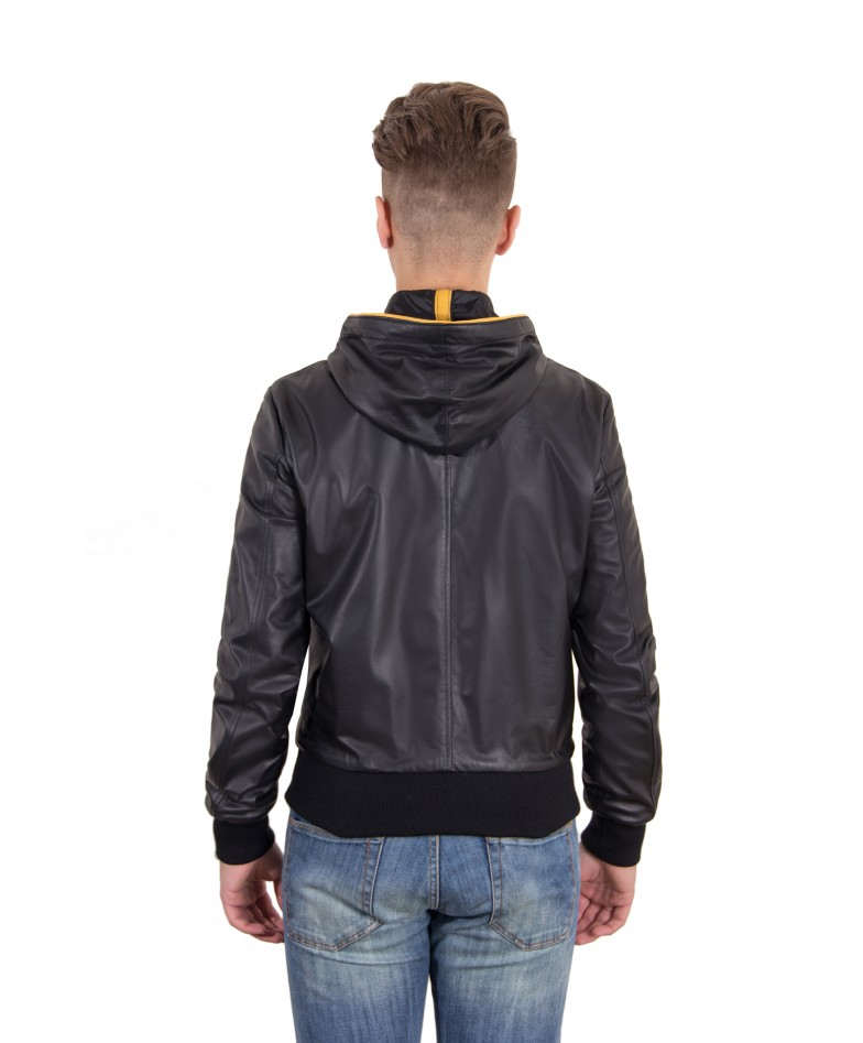 Black Color Nappa Lamb Leather Hooded Bomber Jacket