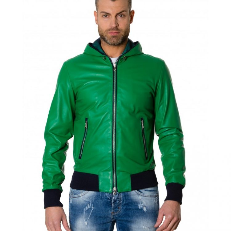 Green/Blue Colour - Lamb Leather Hooded Jacket Smooth Aspect