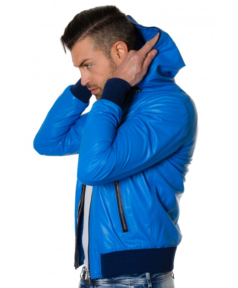 Light Blue Colour Lamb Leather Hooded Jacket Smooth Aspect