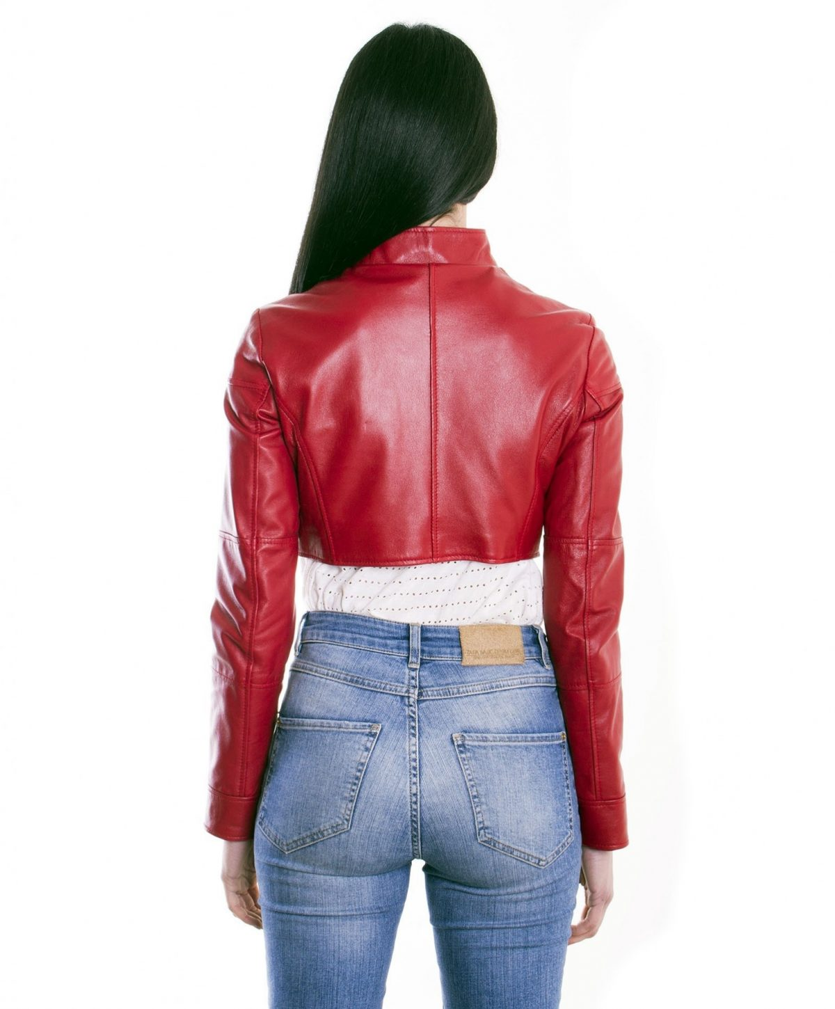 Red Color Nappa Lamb Short Leather Jacket Smooth Effect