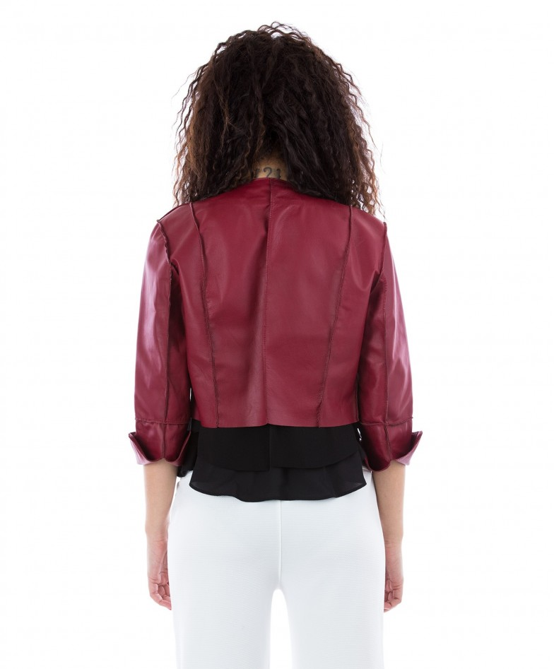 Red Color Nappa Lamb Leather Short Jacket Smooth Effect