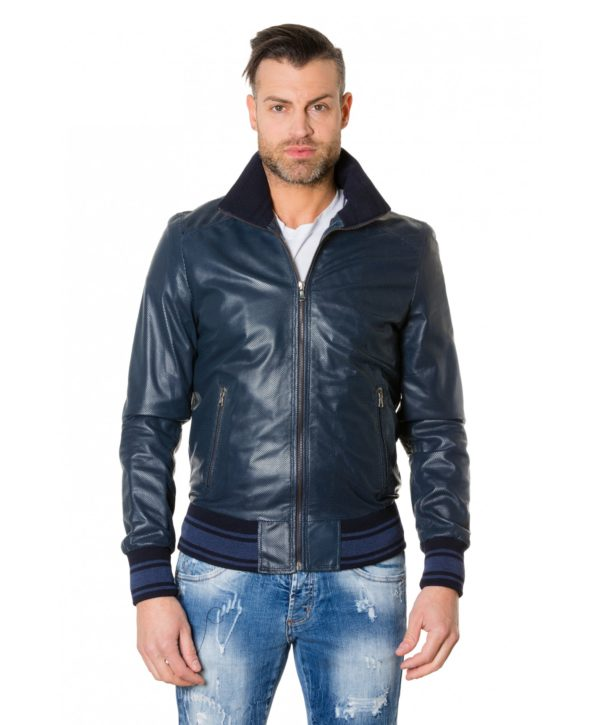 bomber-blue-colour-perforated-leather-jacket-bicoloured-collar (2)