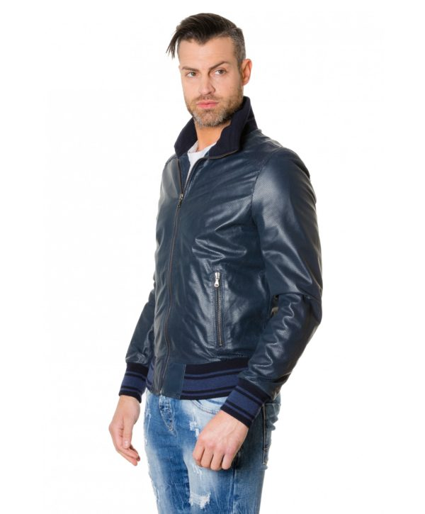 bomber-blue-colour-perforated-leather-jacket-bicoloured-collar (3)