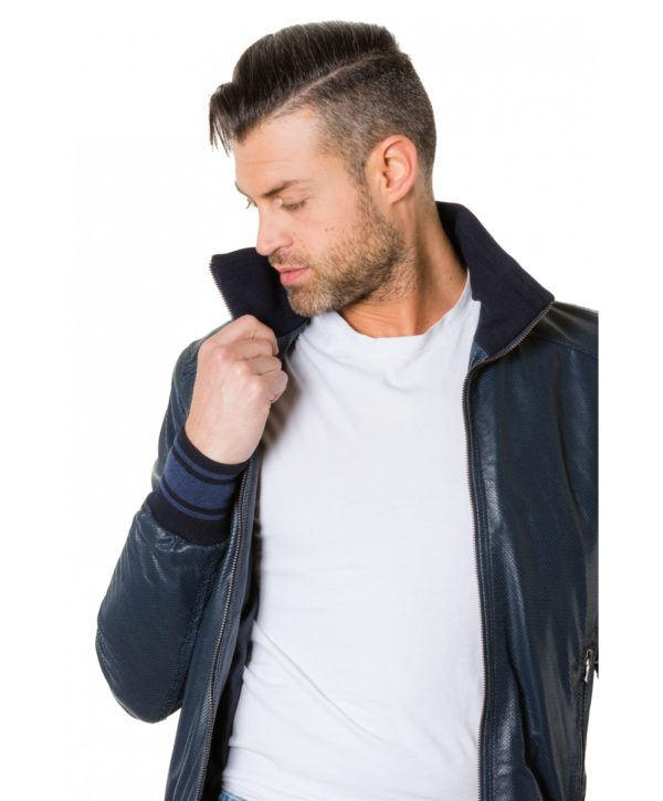 bomber-blue-colour-perforated-leather-jacket-bicoloured-collar (5)