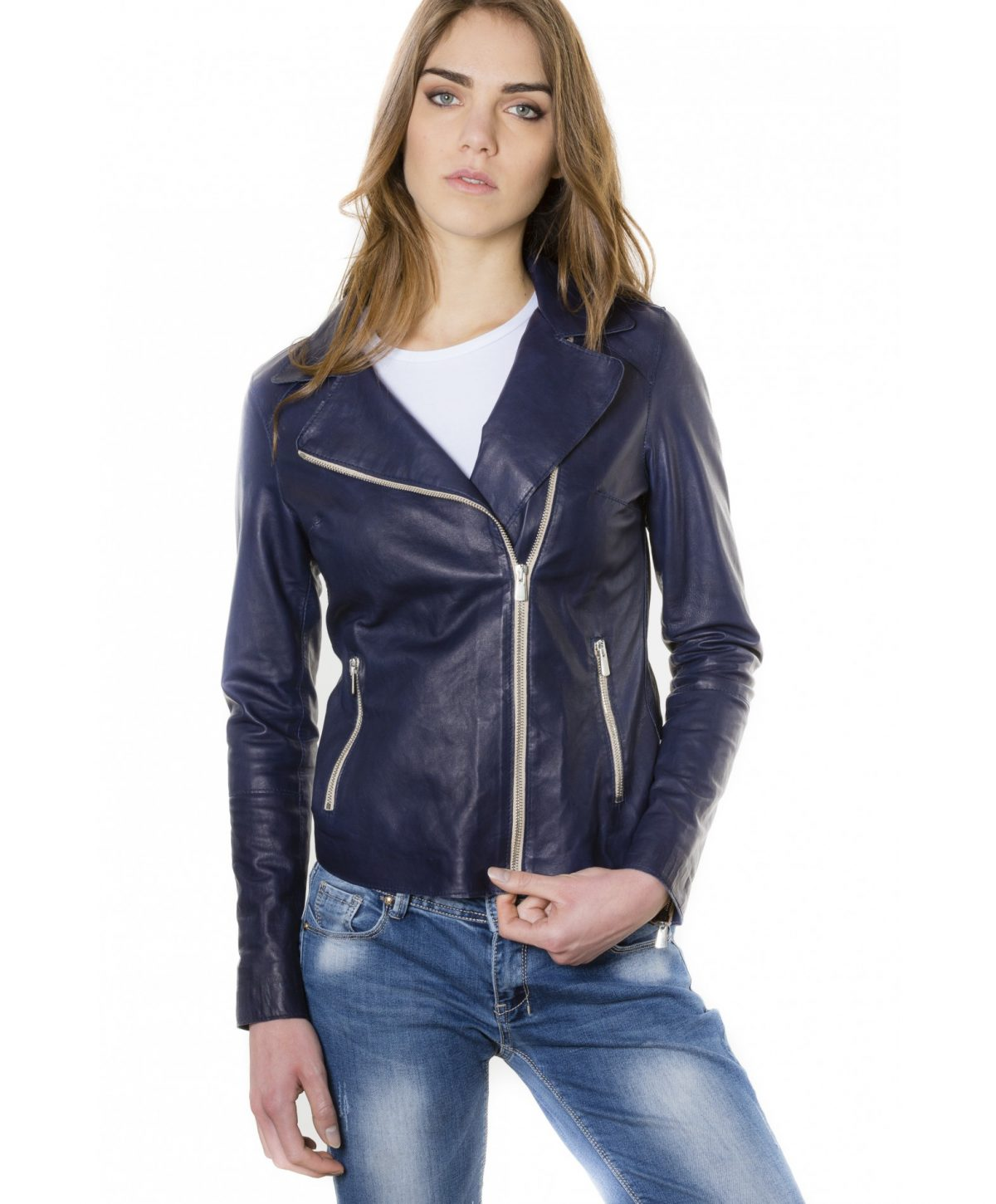 Blue Color – Lamb Leather Jacket Vintage Effect