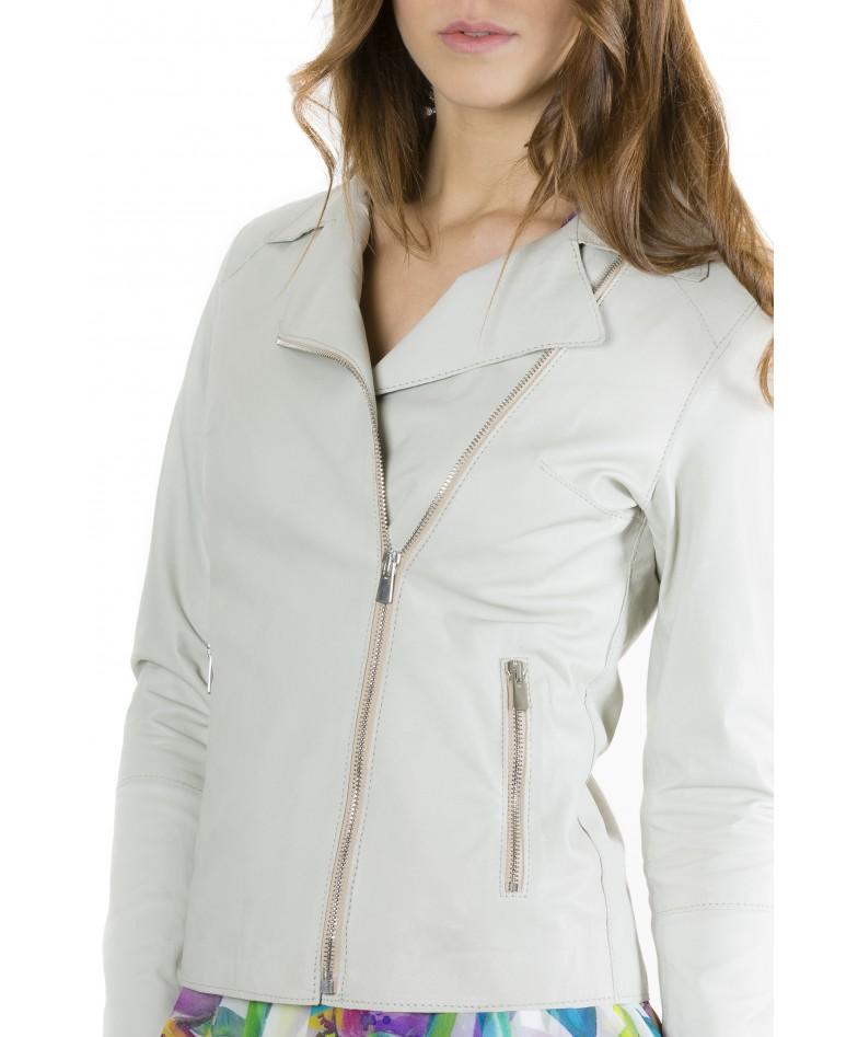 Ice Color Lamb Leather Jacket Vintage Effect