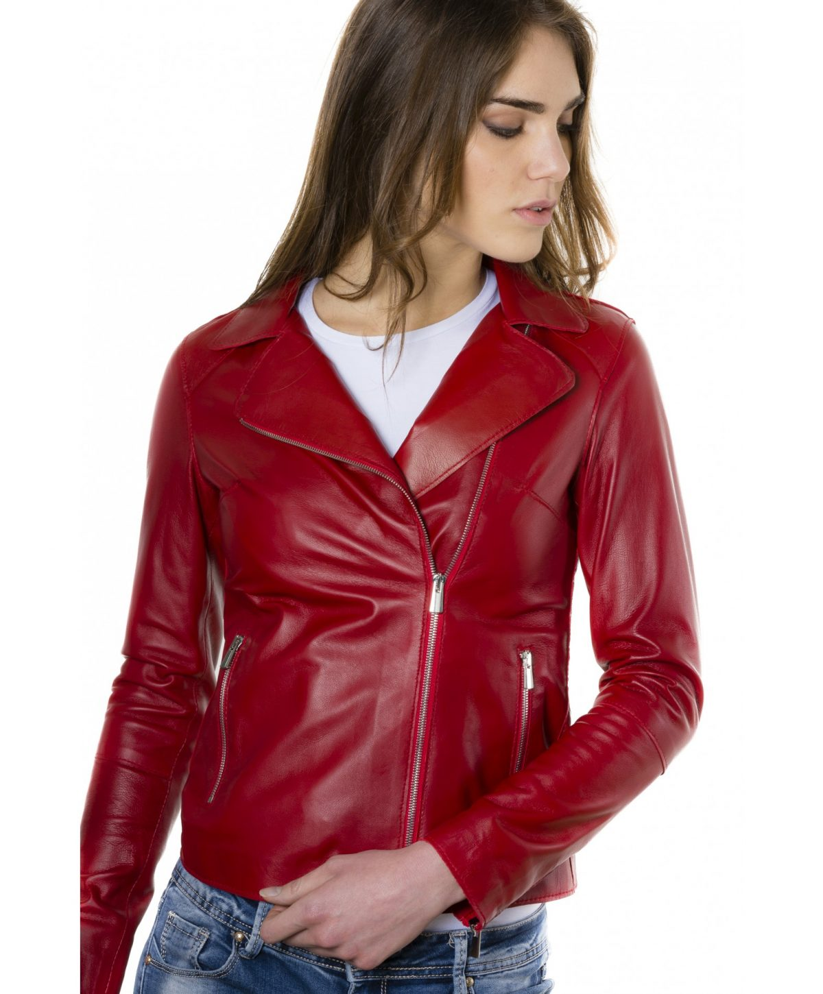 Red Color Nappa Lamb Leather Jacket Smooth Effect