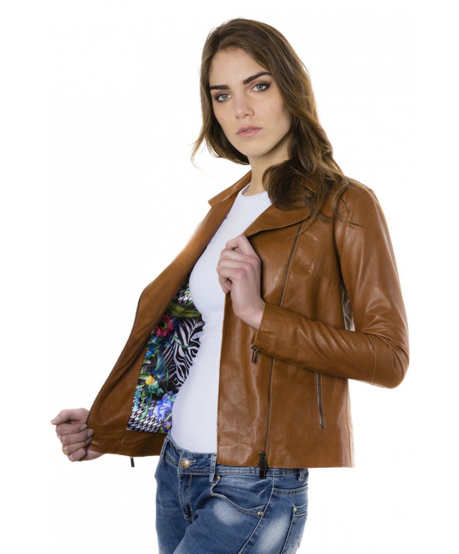 Tan Color Lamb Leather Jacket Vintage Effect