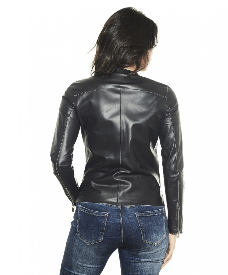 Black Color – Nappa Lamb Leather Jacket Smooth Effect