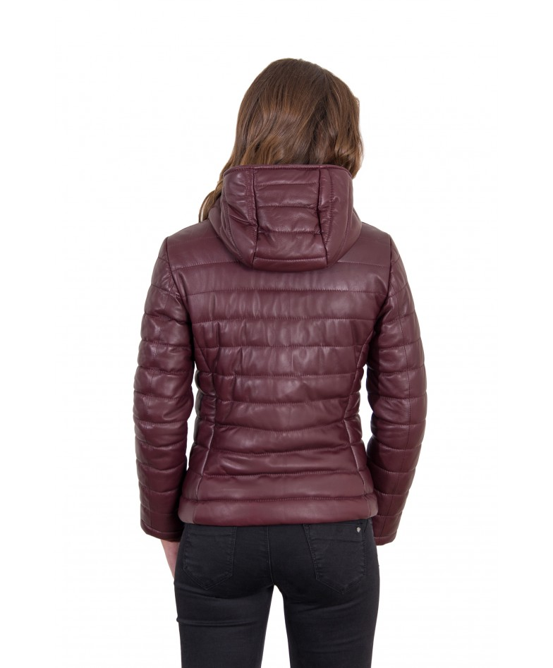 Red Purple Color Nappa Lamb Leather Down Jacket Smooth Effect