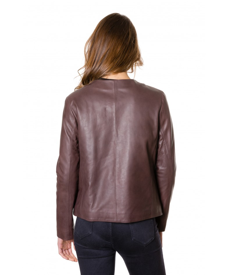Brown Colour Woman Lamb Leather Jacket Smooth Aspect