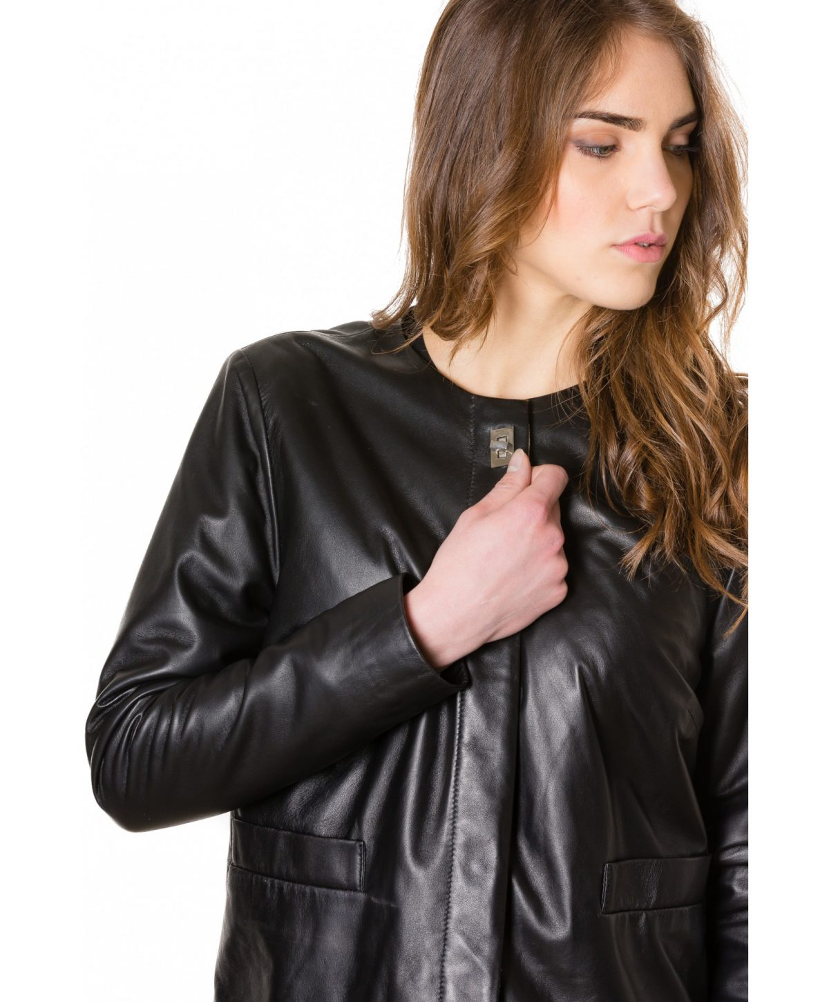 Black Colour Woman Lamb Leather Jacket Smooth Effect
