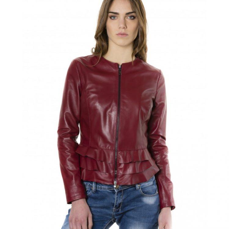 Bordeaux Color - Nappa Lamb Leather Jacket With Flounces