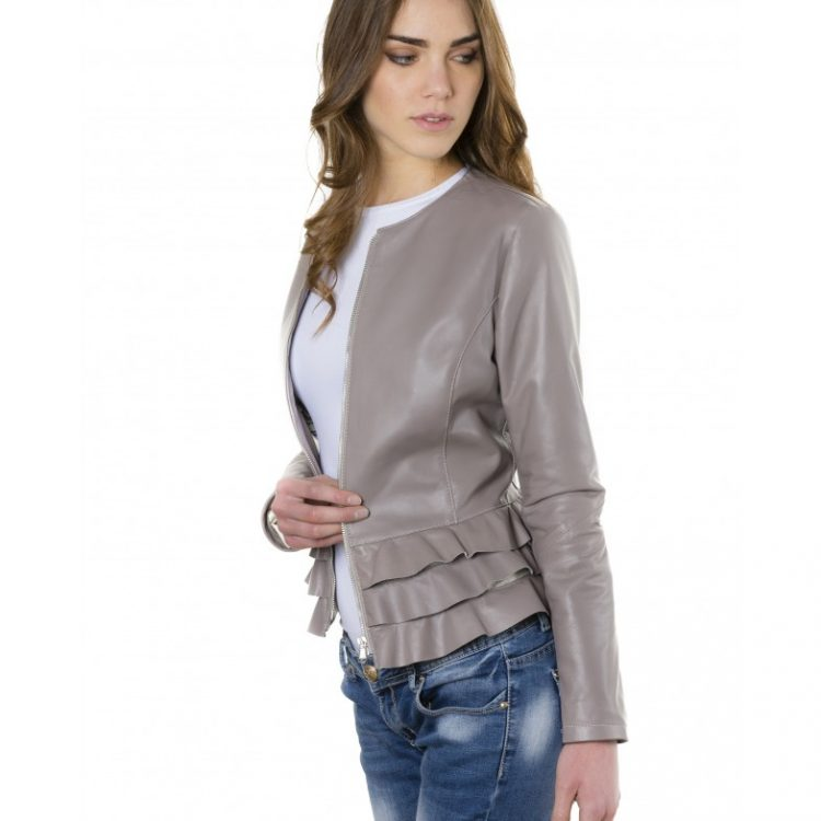 Grey Color - Nappa Lamb Leather Jacket With Flounces