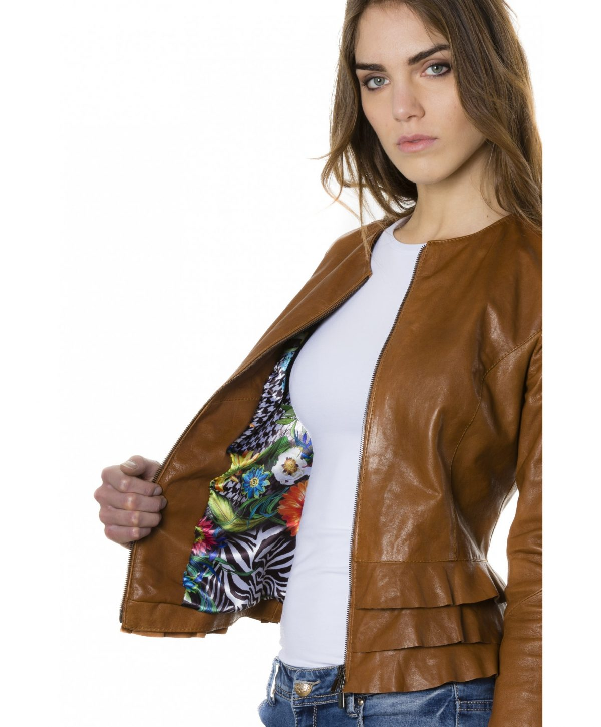 Tan Color Lamb Leather Jacket With Flounces
