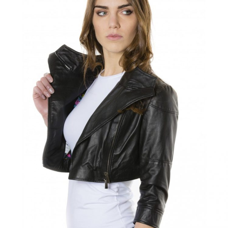 Black Color Nappa Lamb Short Leather Jacket Smooth Effect