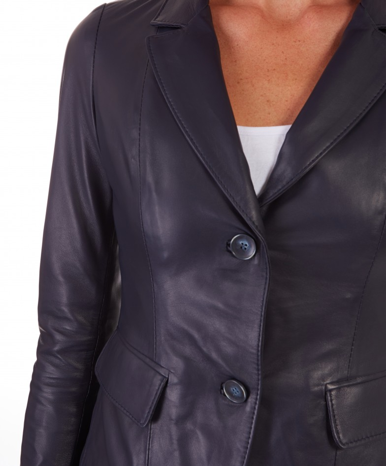 Blue Color Lamb Leather Two Buttons Jacket Smooth Effect