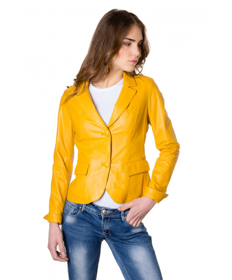 Yellow Color Lamb Leather Two Buttons Jacket Smooth Effect