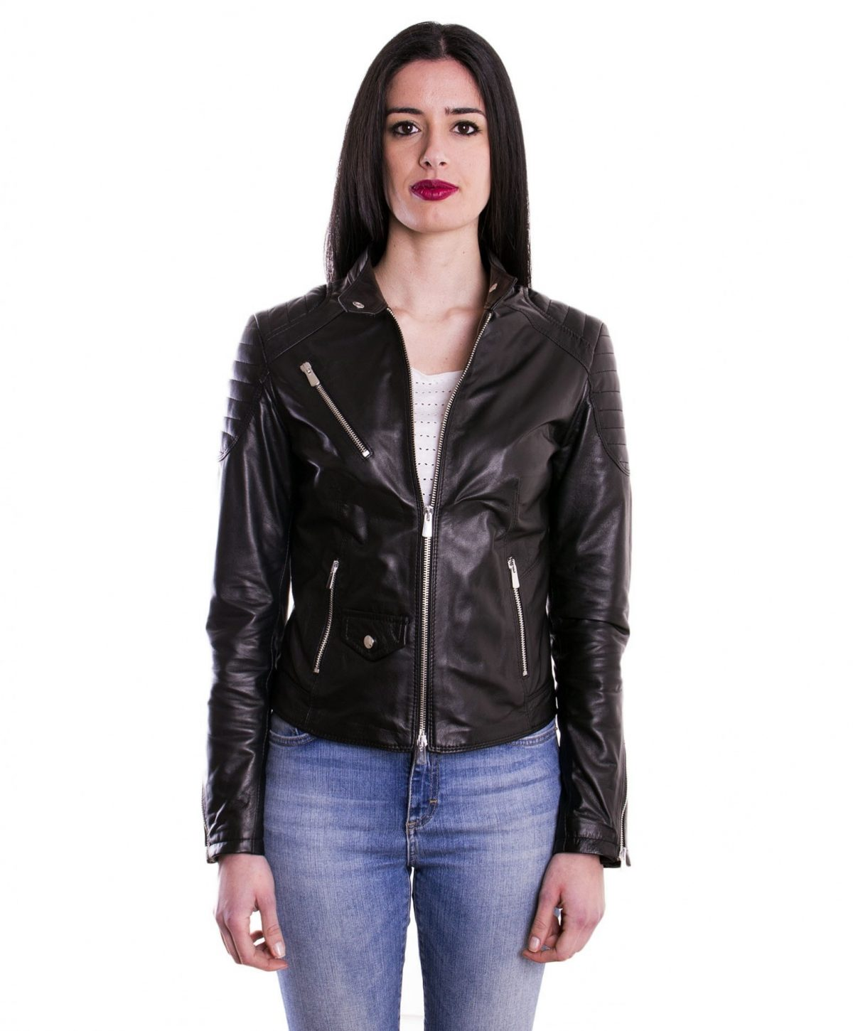 Black Color Lamb Leather Quilted Biker Jacket Smooth Effect