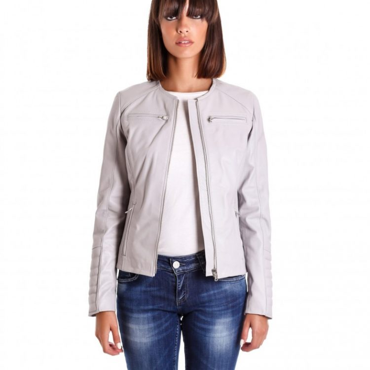 Ice Color Nappa Lamb Quilted Leather Jacket Smooth Effect