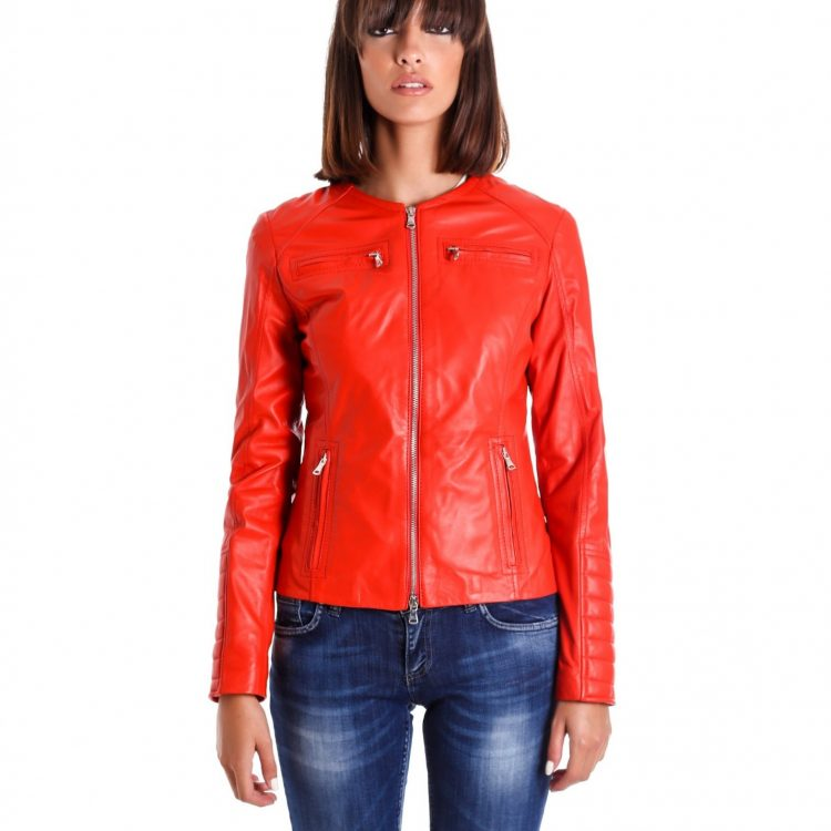 Red Color Nappa Lamb Quilted Leather Jacket Smooth Effect