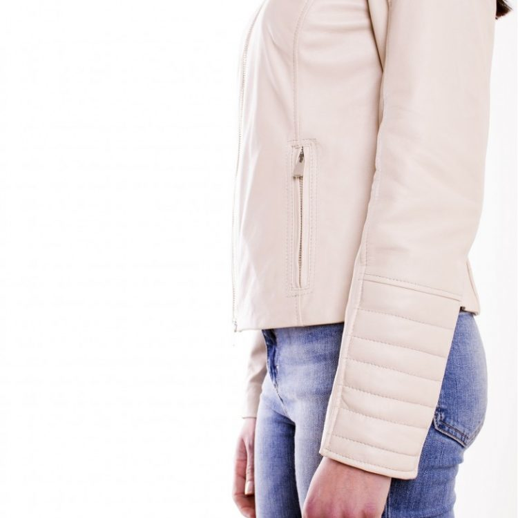 Cream Color Nappa Lamb Quilted Leather Jacket Smooth Effect