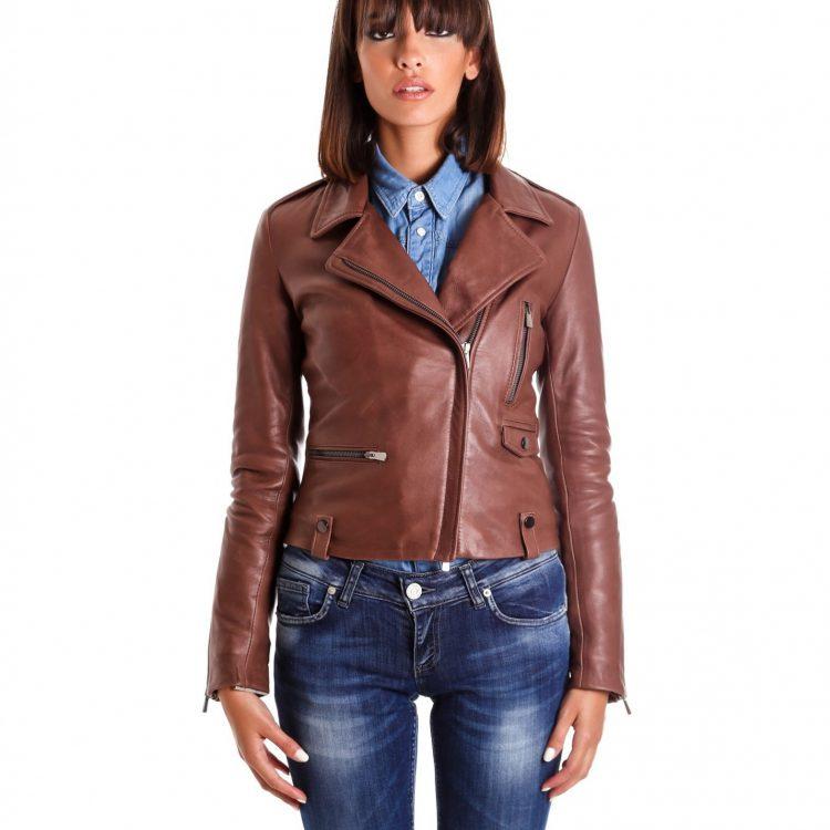 Brown Color Lamb Leather Biker Jacket Vintage Effect