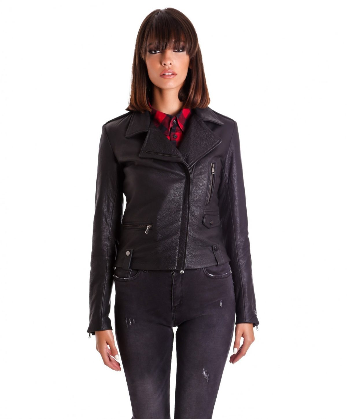 Black Color Lamb Leather Biker Jacket Smooth Effect