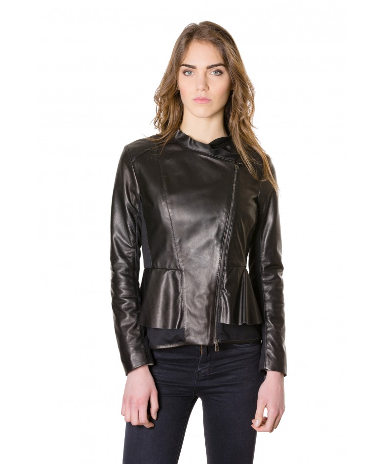 Black Color Nappa Lamb And Fabric Rouches Jacket Smooth Effect