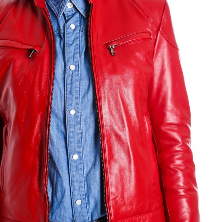 Red Color Nappa Lamb Leather Biker Jacket Smooth Effect