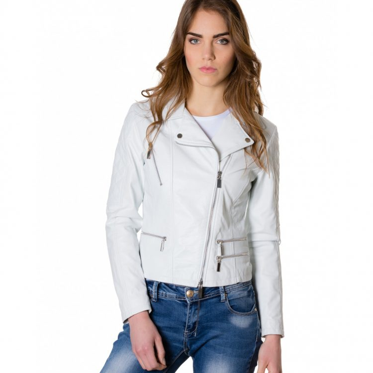 White Color Lamb Leather Quilted Jacket Soft Nappa Smooth Effect
