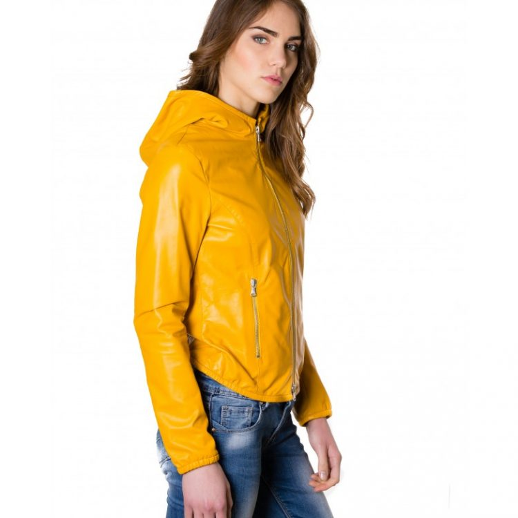 Yellow Color Nappa Lamb Leather Hooded Jacket Smooth Effect