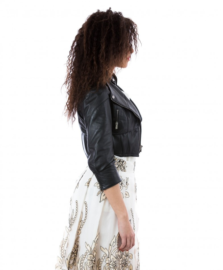 Black Color Nappa Lamb Leather Short Jacket Smooth Effect