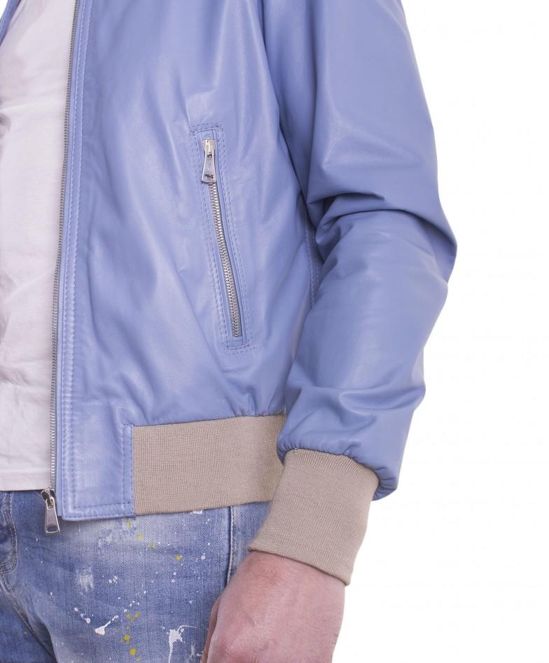 Sky Blue Lamb Leather Hooded Bomber Jacket