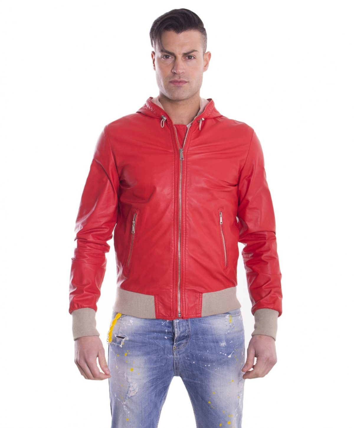 Red Lamb Leather Hooded Bomber Jacket