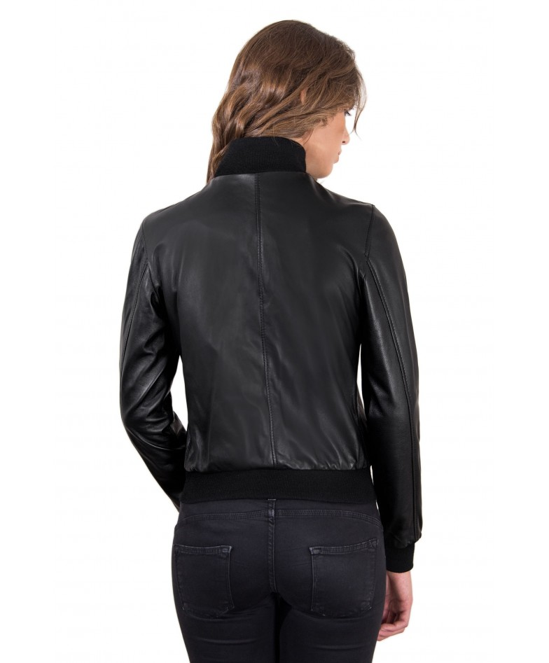 Black Color Lamb Leather Bomber Jacket Smooth Effect